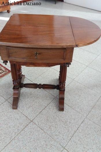 Tavolino da lavoro in mogano con alette