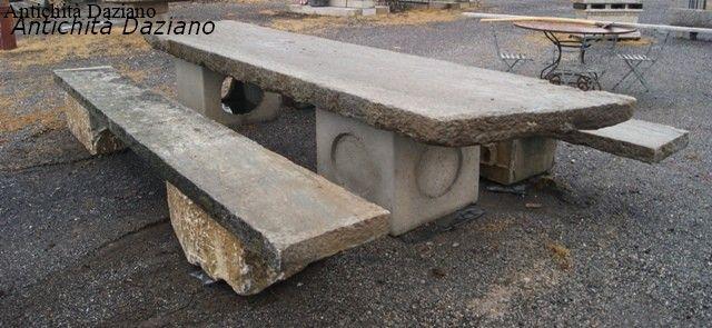 Tavolo in pietra con panca antichit daziano - Tavolo in pietra giardino ...