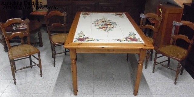 Tavolo con piastrelle antichit daziano - Tavolo con piastrelle ...