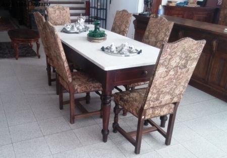 Tavolo con piano in marmo gambe Luigi Filippo