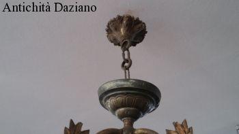 Lampadario in bronzo Liberty 4 luci