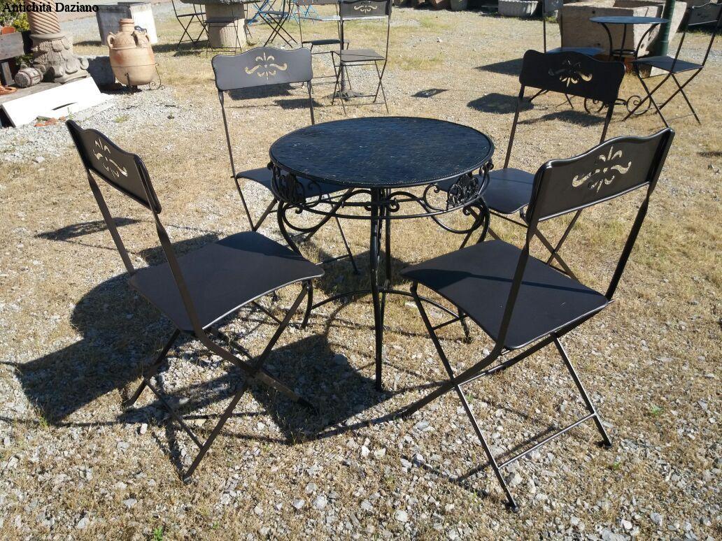 Sedie Da Giardino In Ferro : Tavolino con sedie da giardino in ferro antichità daziano