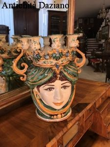 Testa femminile candeliere - Ceramiche Caltagirone