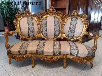 Divano in legno intagliato dorato foglia oro