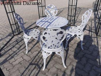 Tavolo rotondo in ghisa e alluminio