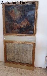 Pannello decorato con olio su tela e specchio