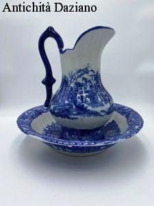Brocca e catino in ceramica stile Inglese